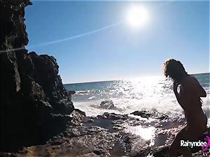 Rahyndee James public beach penetrating pov
