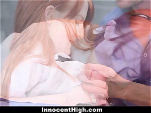 InnocentHigh - nice ginger-haired schoolgirl tears up Drama teacher