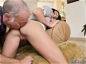 old grandpa spunk shot gal internal ejaculation riding the senior manstick!