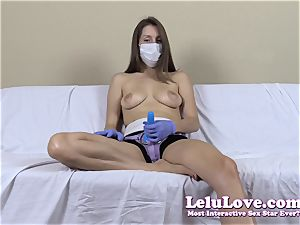topless lady with medical mask and strap dildo
