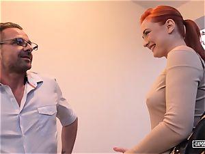 revealed audition - ginger-haired Eva Berger splooging casting