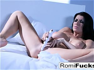 Solo fun on the couch with the chesty pornographic star Romi Rain