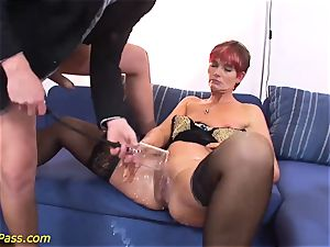 lubricated obese mummy gets ass-fuck pumped