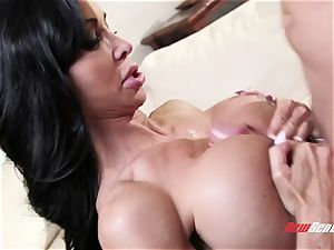 suntanned exotic cougar pleasure buttons Jade takes her stepson's hefty chisel in her tatted cunt
