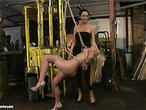 Mandy Bright trussed a super-steamy ash-blonde with cable