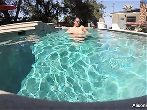 curvaceous Alison swims and masturbates in the pool