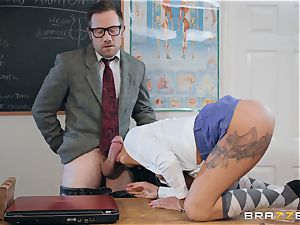 Roxxy Lea rides the instructos hard long penis