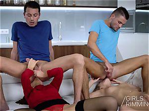 mischievous four-way butt licking with Tina Kay