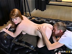 redhead Gwen Stark smashes her brothers phat pecker