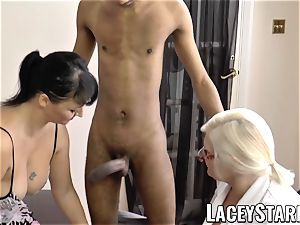 LACEYSTARR - Mature doctor humped by multiracial duo
