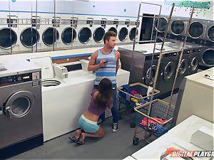 Dillion Harper fucked in a laundry basket