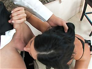 India Summers, dark-haired nude breezy, takes humungous pipe on her lips in deep throat