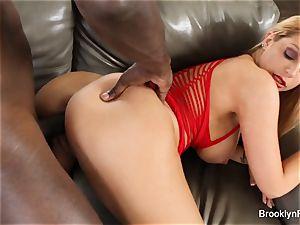 Brooklyn takes a big black cock on the sofa