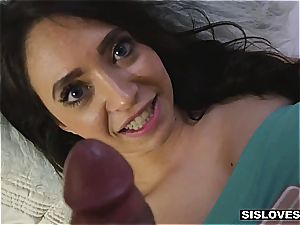 Stepsis make her desire of deep throating her bro's huge weenie a reality