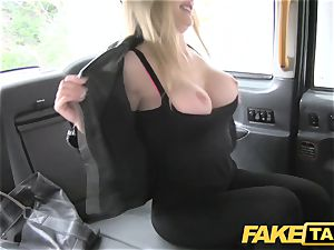 faux taxi footjob and big money-shot for adorable clean-shaven cunny