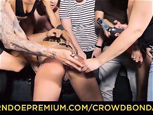 CROWD bondage - Silicone bumpers blonde super-naughty public lovemaking