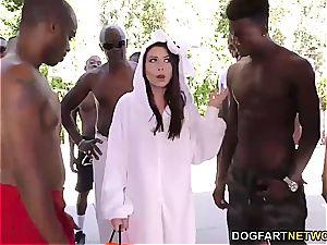 Melissa Moore deep-throats several dark-hued fuck-sticks at once