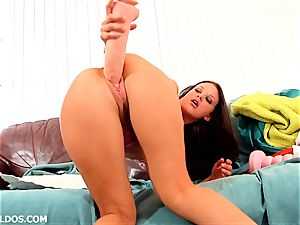 hot brunette with great lips Roxy Raye boinks gigantic fuck sticks