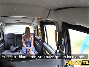 fake cab Mum with inborn bra-stuffers gets enormous british jizz-shotgun