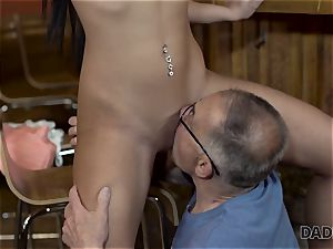 DADDY4K. Angry guy catches aged parent pounding his good-looking damsel
