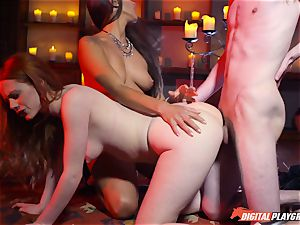 jizz guzzling threesome with cool Ella Hughes and marvelous babe Mea Melone