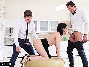 woman Dee plays with 2 spears and a dildo