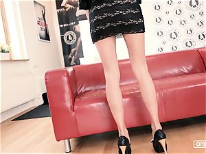 unsheathed audition - red-hot Czech stunner screws at casting