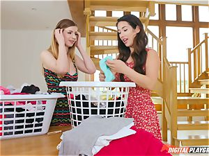 vag fondling super-cute Eva Lovia and Stella Cox messing in the laundry