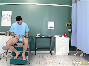 nads busting nurse Karlee Grey milks man sausage with relief