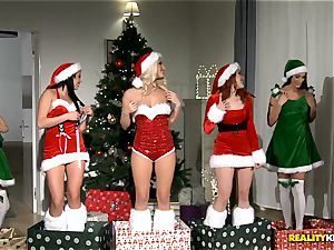 2 dudes get the hottest Christmas surprise with redheaded Amarna Miller and her two scorching friends Tricia teenage and Blanche Bradburry