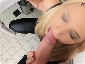 My messy pastime - facial cumshot queen takes it in the toilet