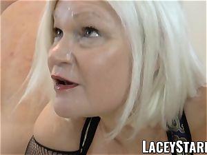 LACEYSTARR - UK grandmother gangbanged and munching spunk