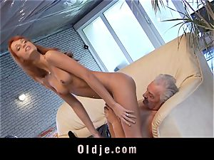 Oldman Gustavo happy to plow magnificent Erica Fontes