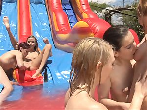 lubricious slide raw girl/girl babes munching out snatch outdoors